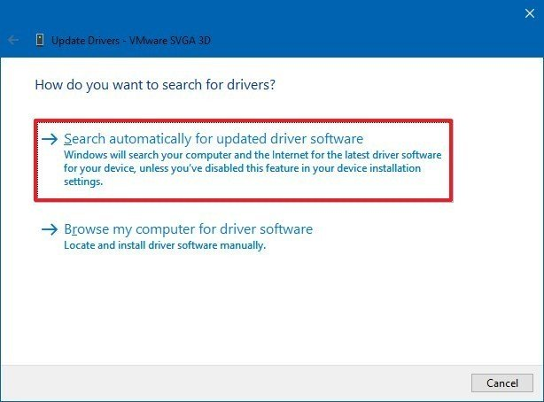 Device Manager driver update wizard