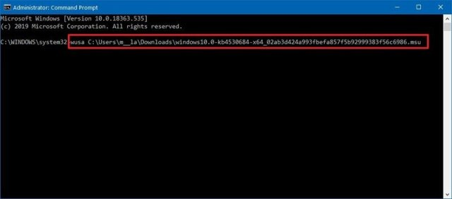 Command Prompt install quality update manually