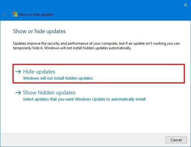 Windows 10 hide update wizard