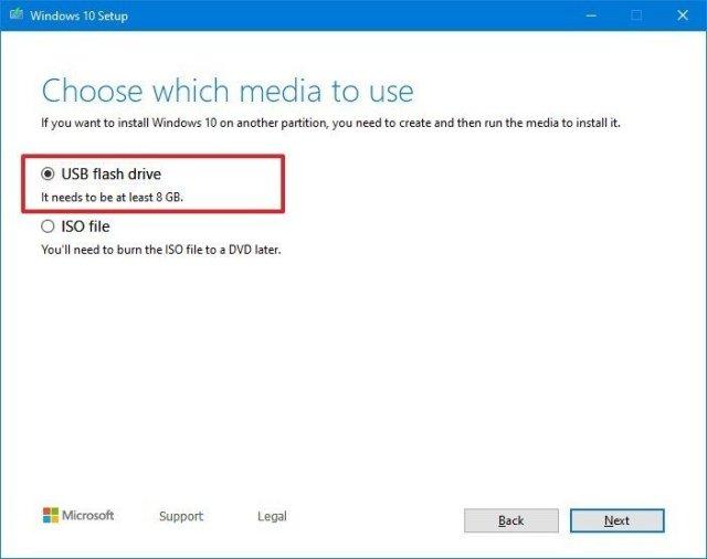 Media Creation Tool USB option