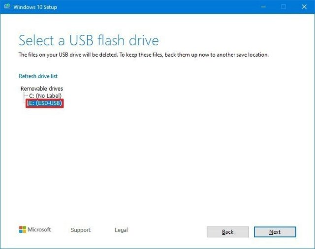 Select USB to create boot media