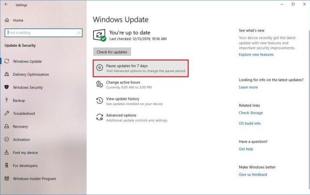 Pause Windows Update option