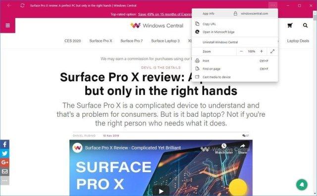 Microsoft Edge Chromium Progressive Web Apps