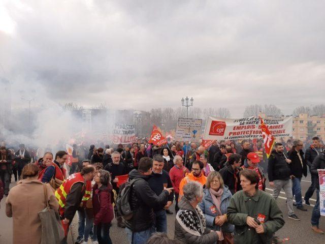 Une manifestation interprofessionnelle à l'appel des syndicats est organisée vendredi 24 janvier 2020, à Toulouse.