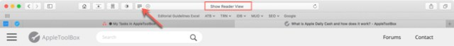Safari Reader View button