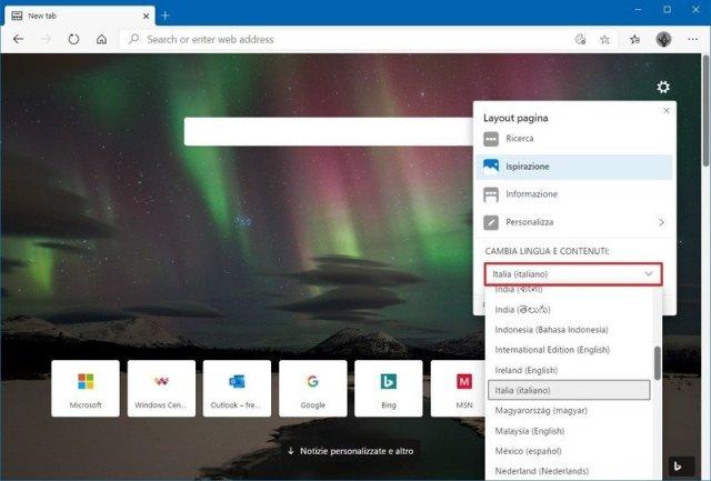 Microsoft Edge content language settings