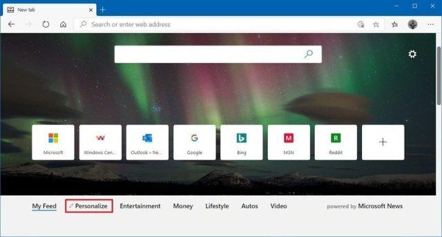 Microsoft Edge new tab personalize option