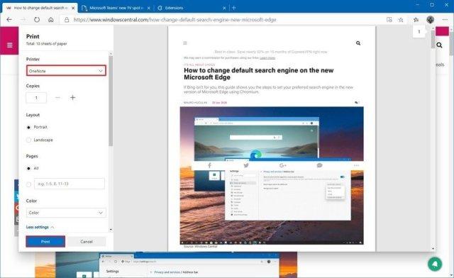 Microsoft Edge print to OneNote