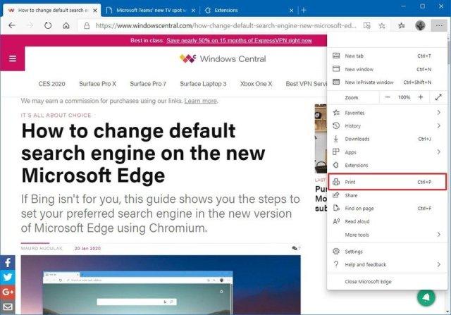 Microsoft Edge print option