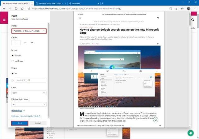 Microsoft Edge select printer option