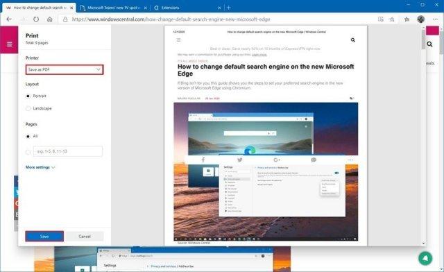 Microsoft Edge print to PDF option