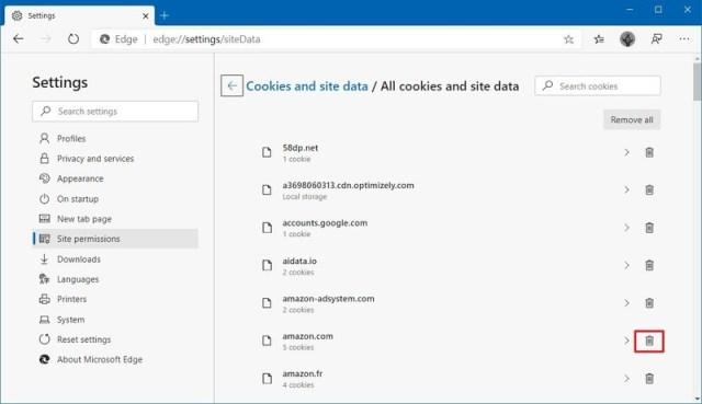 Microsoft Edge delete website cookie