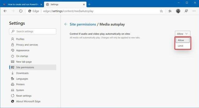 Microsoft Edge media autoplay settings
