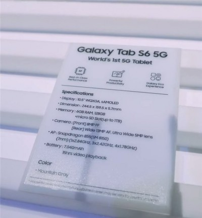 Specs sheet of Samsung Galaxy Tab S6 5G leaks, it is the same as the 4G variant