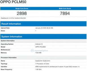 Geekbench: Oppo PCLM50 (a Reno3 variant)