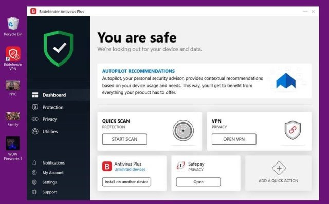 screenshot bitdefender dashboard