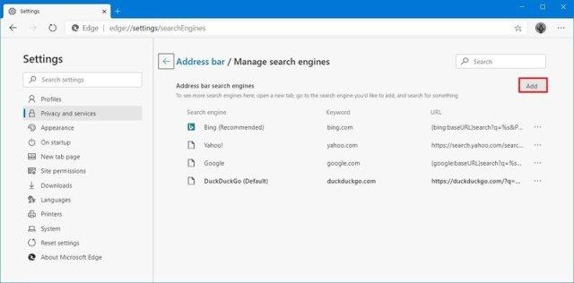 Microsoft Edge add custom search engine