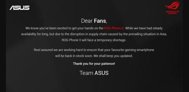 Asus warns of a temporary shortage of the ROG Phone II