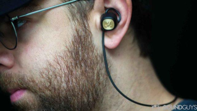 Best Sennheiser headphones: Picture of Adam wearing the Marshall Minor II earbuds.