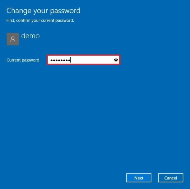 Confirm local account password step