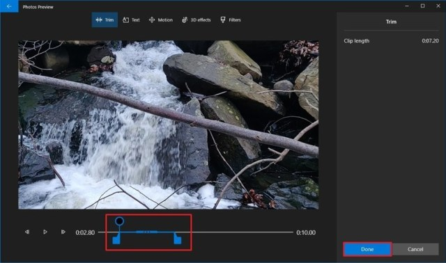 Photos video editor trim tool