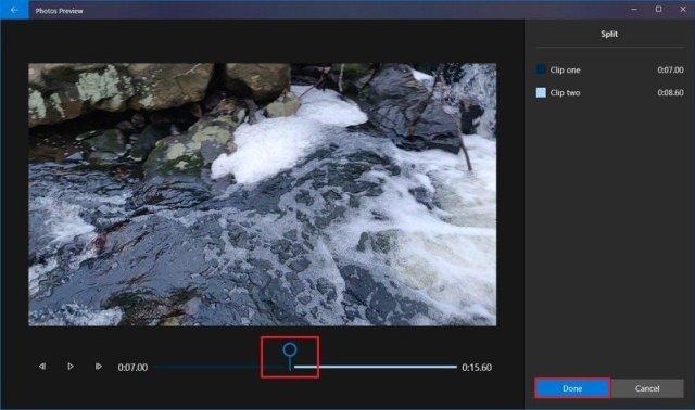 Photos video editor split second clip