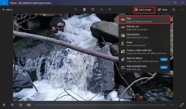 Video Trim Option in Photos on Windows