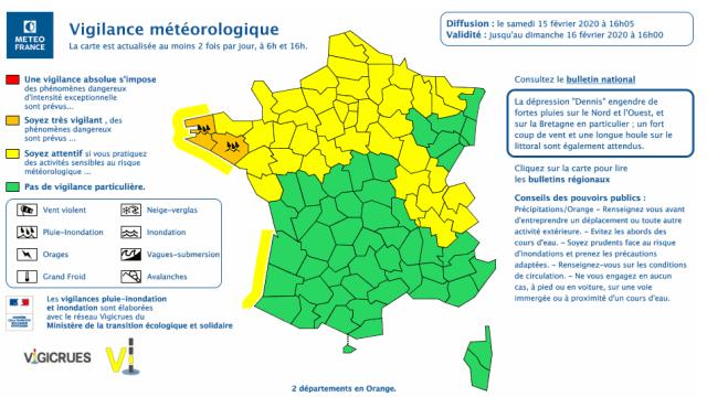 Carte vigilance Météo France 15 février