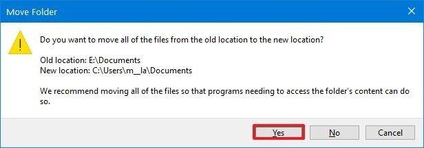 Windows 10 relocate user folder default location option