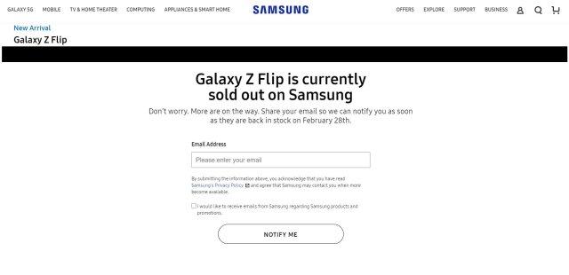 Samsung Galaxy Z Flip US Unlocked Sold Out