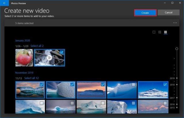Photos create automatic video option