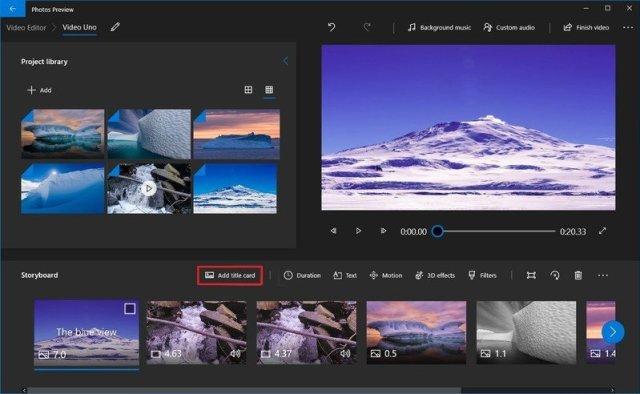 Photos video editor add title card
