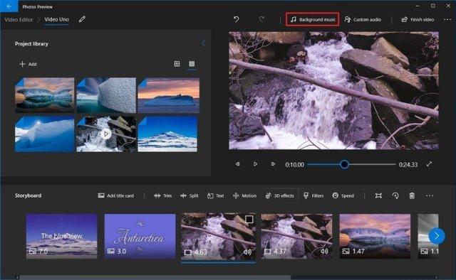 Photos video editor background music option