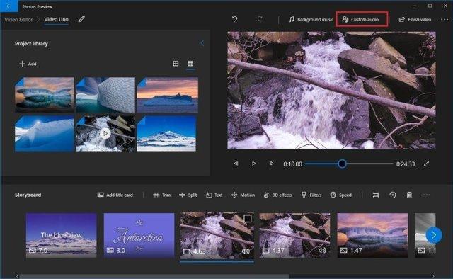Photos video editor narration insert option