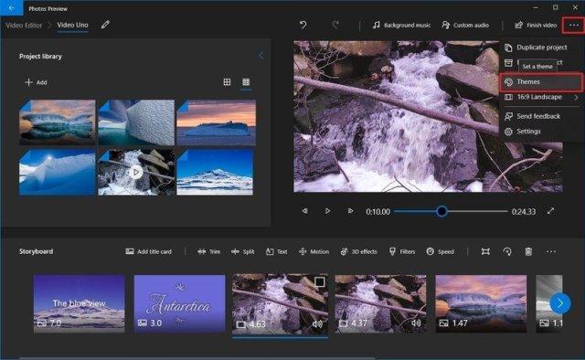 Photos video editor theme option
