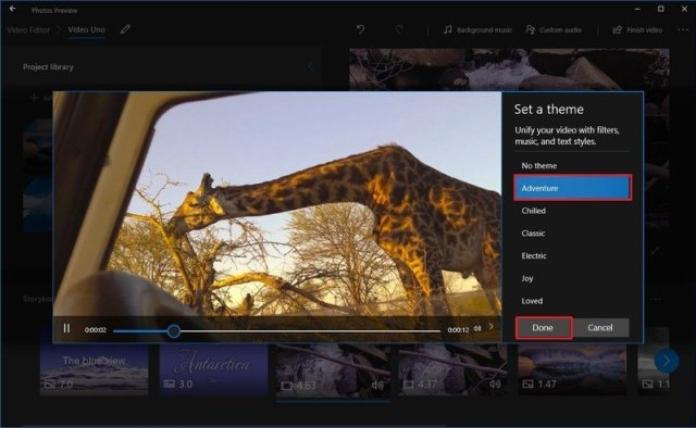 Select theme for video project