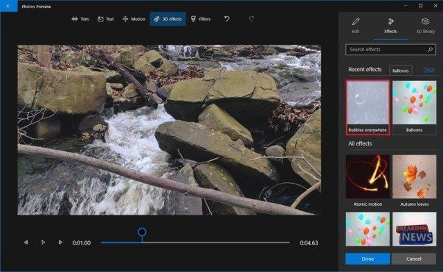 Photos video editor select 3D effect