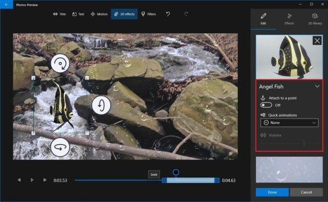 Photos video editor 3D effect settings