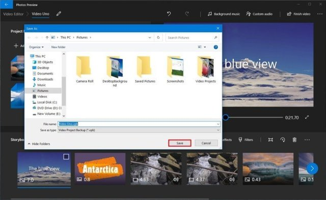 Save video project backup using Windows 10 Photos app