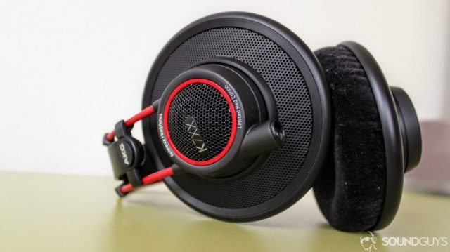 A close-up photo of the AKG K7XX's on its side revealing the cable input.