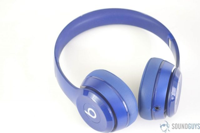 Shot of the blue Solo 2 headphones on a white background.