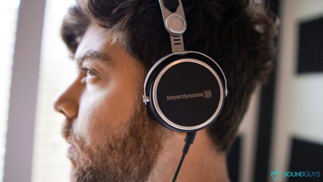 Best cheap soundbar: Wearing the Aventho Wired headphones.