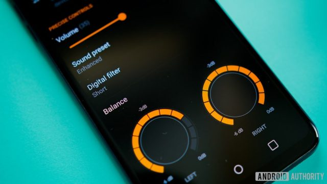 A photo of the LG V30 with its sound control screen displaying.
