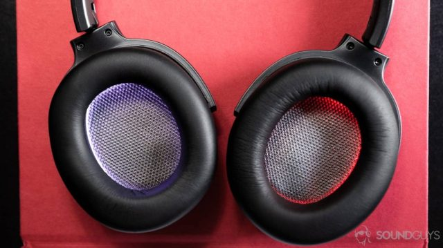 Aerial view of the ear cups which are white and red (lit by LEDs).