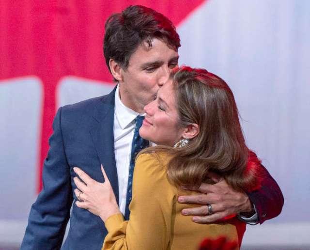 Le premier ministre du Canada Justin Trudeau et sa femme Sophie Grégoire en octobre 2019 à Montréal.