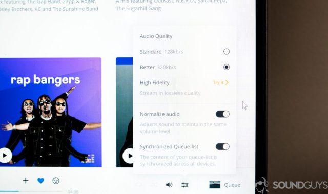 Deezer app - audio quality settings