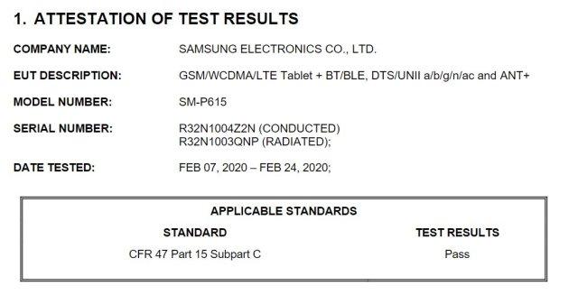 Samsung Galaxy Tab S6 Lite FCC Certification