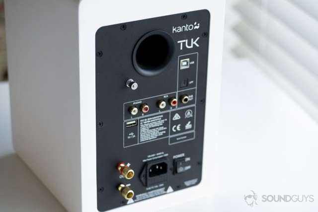 A photo of the back of the main Kanto TUK speaker.