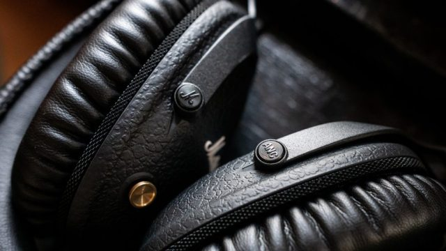 Close-up shot of both buttons on the Marshall Monitor II ANC headphones