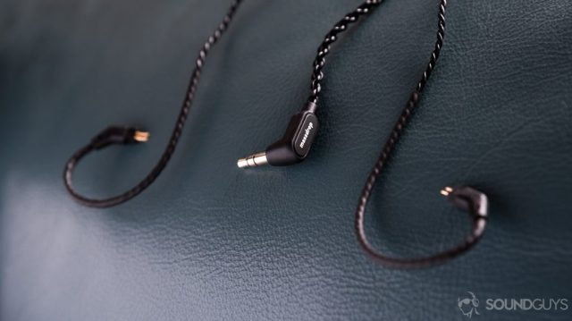 A photo of the Massdrop x Empire Ears Zeus earbuds removable 3.5mm cable with 2-pin connectors terminating at each ear hook.